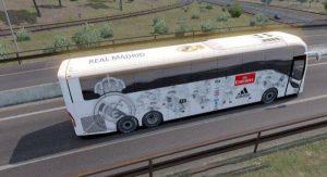 دانلود مود اتوبوس Volvo 9800 با پوسته رئال مادرید برای ETS 2